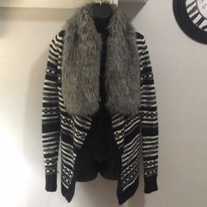 Express Fur Sweater Cardigan